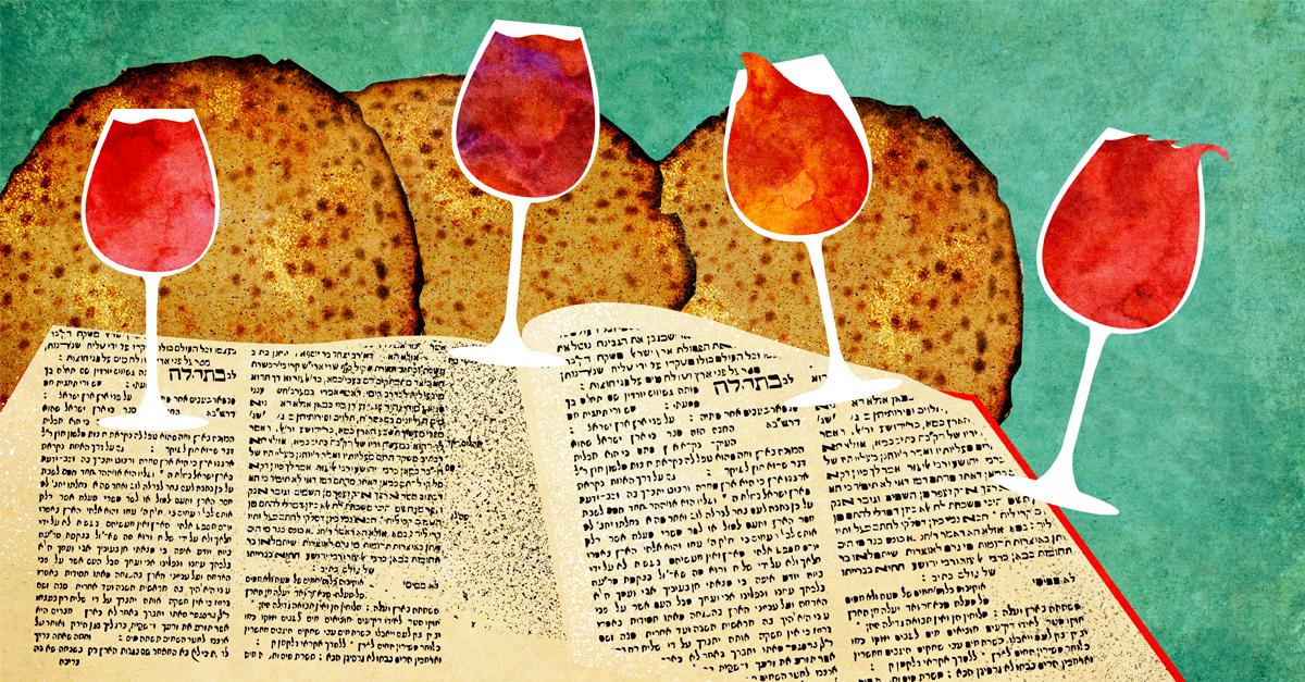 Passover matzah wine and the haggadah